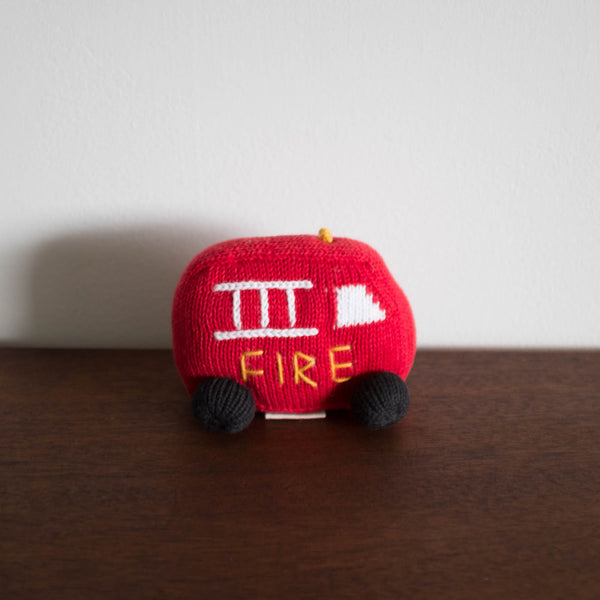 Organic Fire Truck Toy Baby Rattle