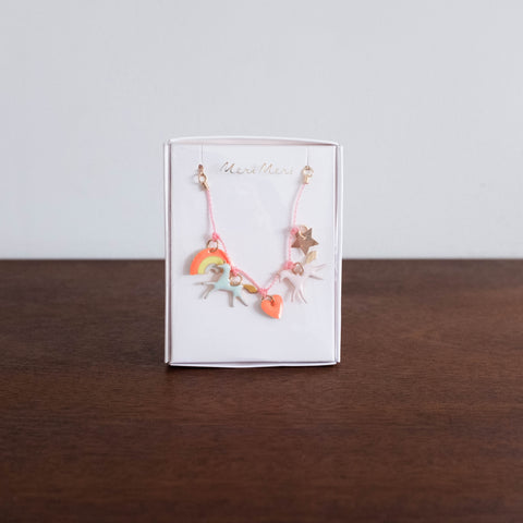 Unicorn Enamel Charm Necklace