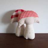 Gingham Checkered Mushroom Pillow Doll