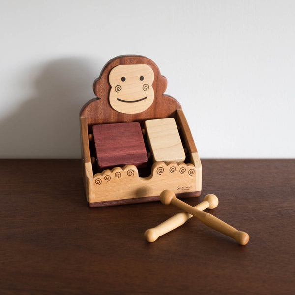 Wooden Monkey Block Drum Set