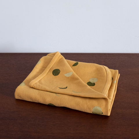 Moon Mini Baby Blanket- Mustard with Olive and Gold Print