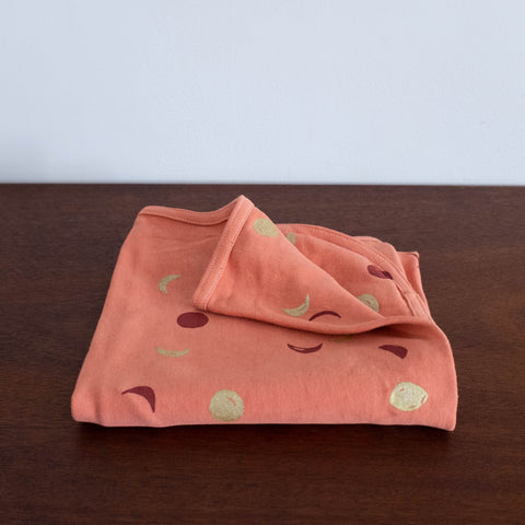 Moon Mini Baby Blanket- Blush Pink with Coral and Gold Print