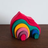Wooden Gable House Toy- Rainbow