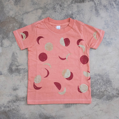 Moon Tee- Blush Pink with Coral and Gold Print