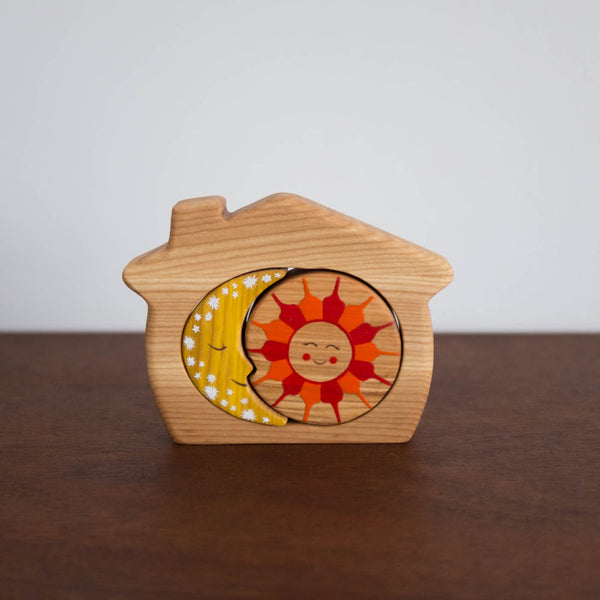 House Sun and Moon Wooden Stacking Toy