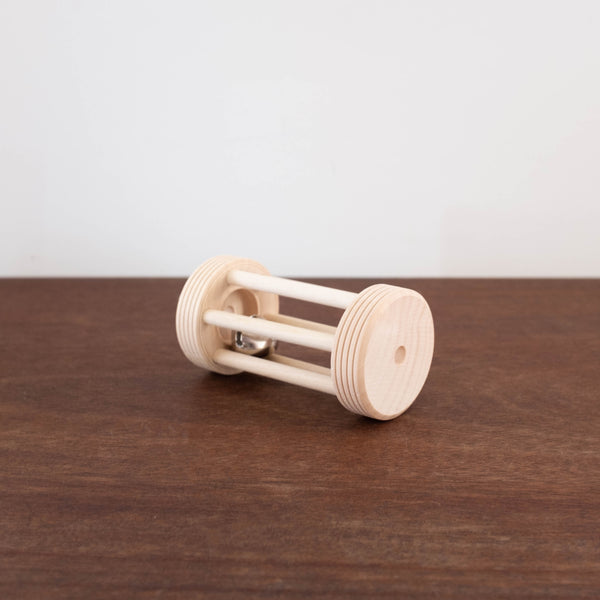 Wooden Rolling Bell Rattle Toy