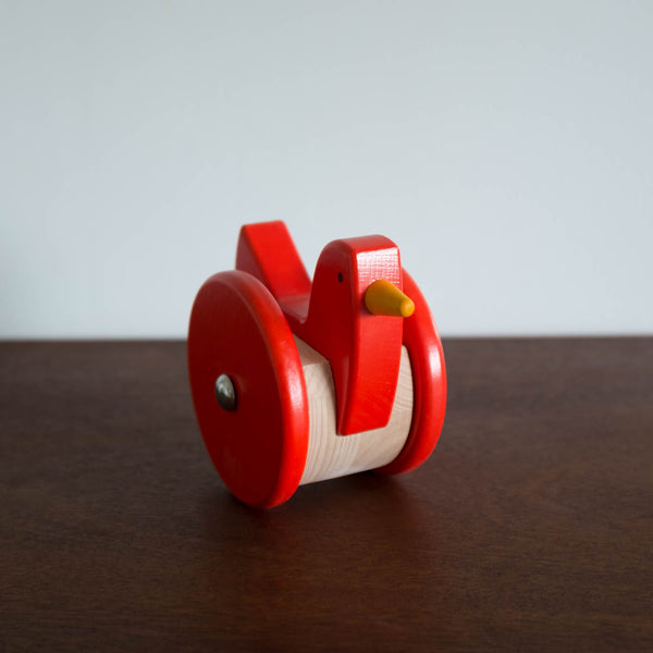 Wooden Wobbling Chicken Toy- Coral Red