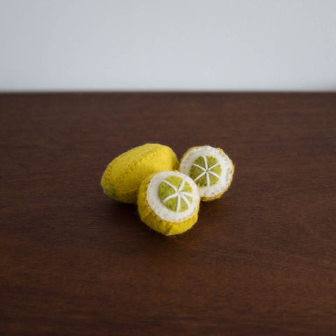 Wool Felt Food Toy: Lemon 3 pc Set