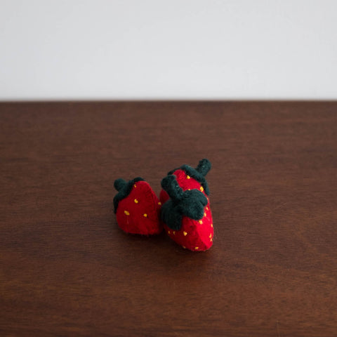Wool Felt Food Toy: Strawberries 3pc Set