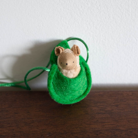 Waldorf Inspired Mini Mouse in Leaf Necklace
