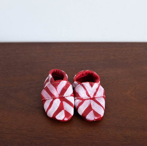 Baby Moccasins - Chevron Red
