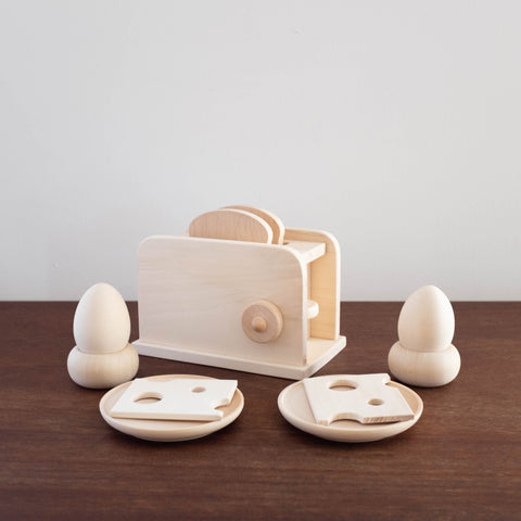 Eco Friendly Natural Wood Toaster Breakfast Set