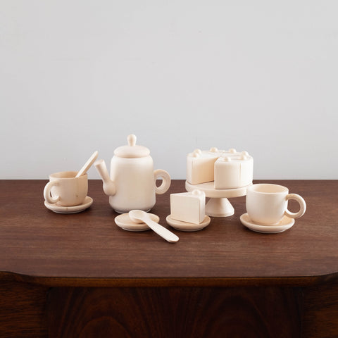 Eco Friendly Natural Wood Tea and Cake Set