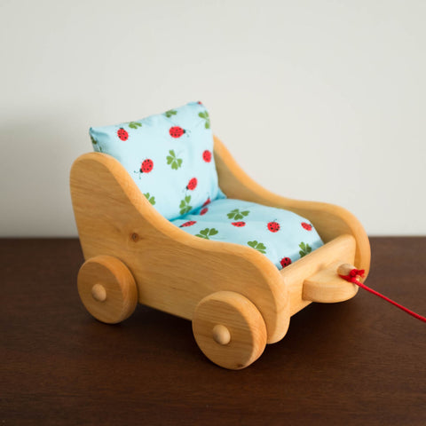 Wooden Doll Pram Pull Toy