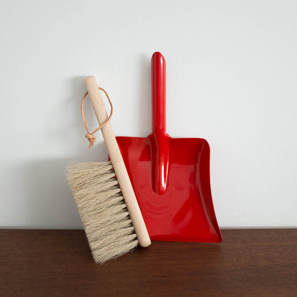 Wooden Brush and Metal Dust Pan Set