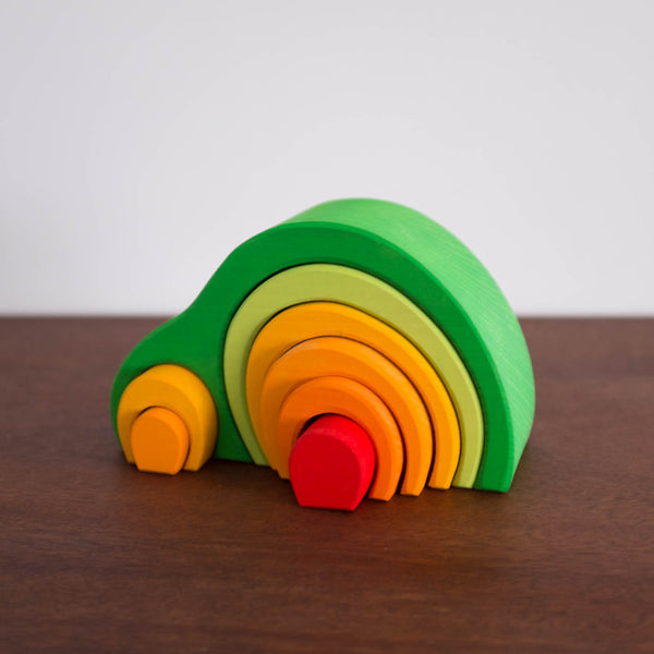 Green Arch House Wooden Stacking Toy