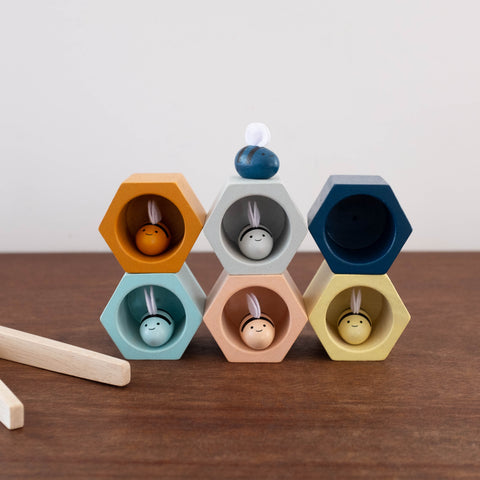 Wooden Beehive Counting Set- Modern Colors