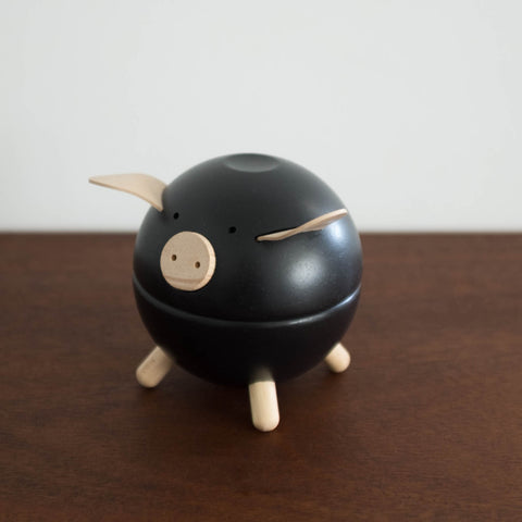 Wooden Piggy Bank Toy- Black