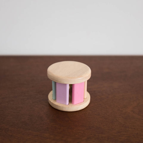 Wooden Pastel Roller Rattle Toy
