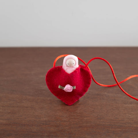 Mini Doll in Heart Necklace