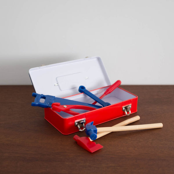 Tin Tool Box with Tools Set