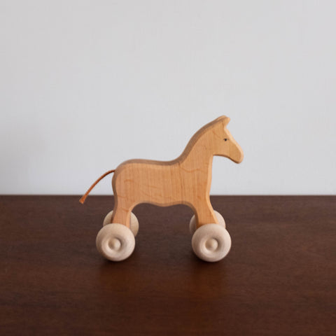 Wooden Large Horse with Wheels
