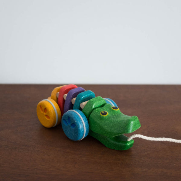 Wooden Dancing Rainbow Alligator Pull Toy