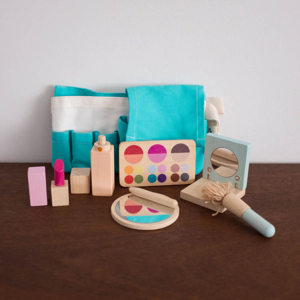 Wooden Makeup Pouch Set