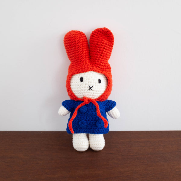 Miffy Handmade Crochet Doll- Red Hat with Blue Dress