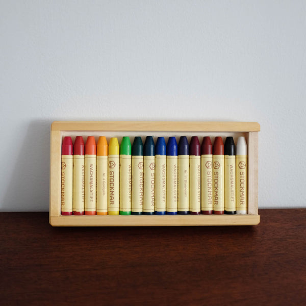 Stockmar Wax Stick Crayons Wooden box - 16 assorted