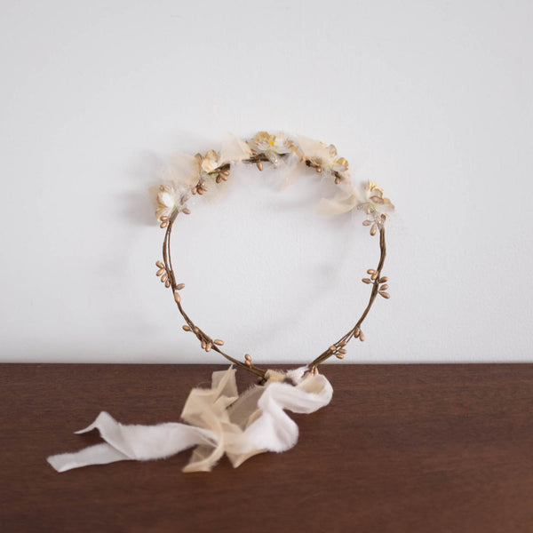 Princess Crown Garland- Peach Silk