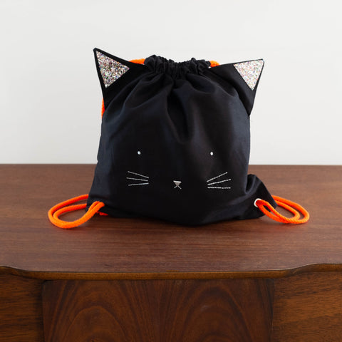 Black Cat Drawstring Backpack Bag
