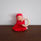 Little Baby Cuddle Doll with Wooden Ring- Red with White