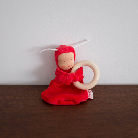 Little Baby Cuddle Doll with Wooden Ring- Red