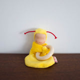 Little Baby Cuddle Doll with Wooden Ring- Yellow