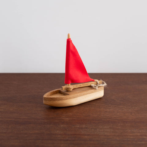 Wooden Sailboat- Red