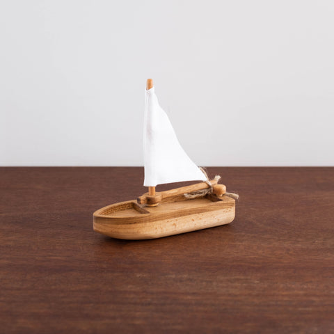 Wooden Sailboat- Natural White