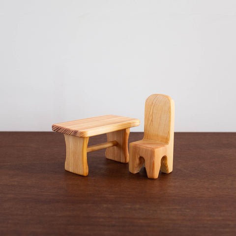 Wooden Waldorf Doll Table and Chair Toy