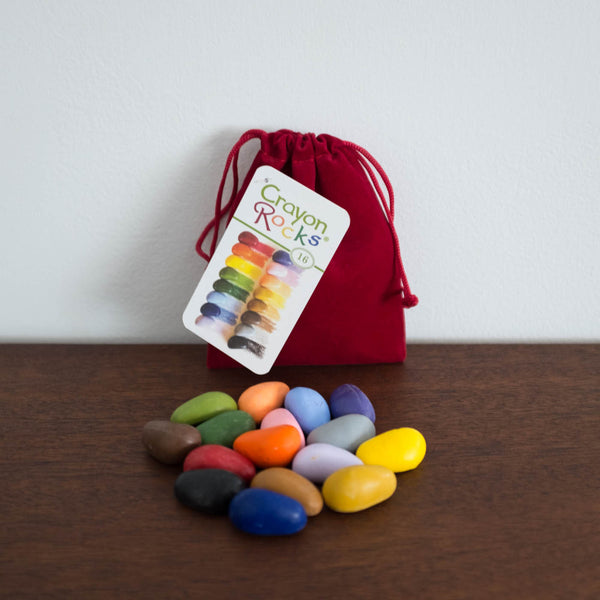 Crayon Rocks in a Velvet Bag - 16 colors