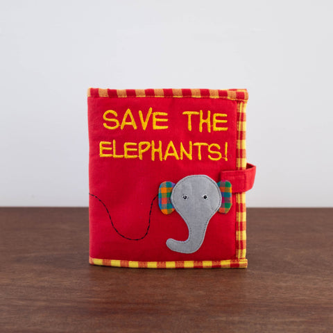Baby Fabric Book- Save the Elephants
