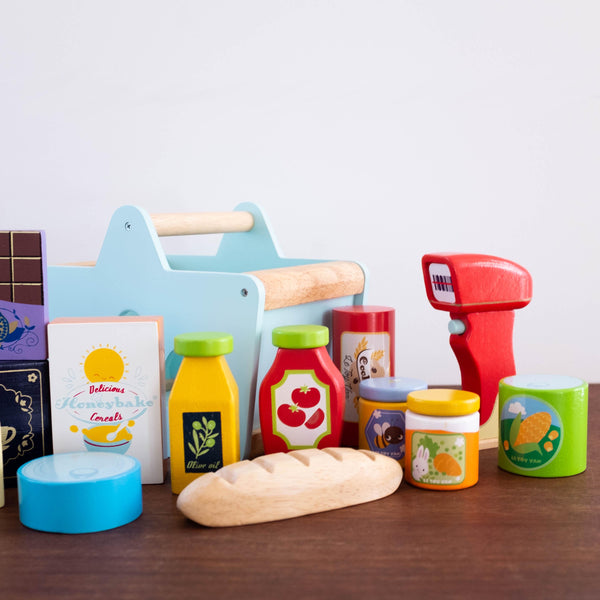 Wooden Grocery Food Set