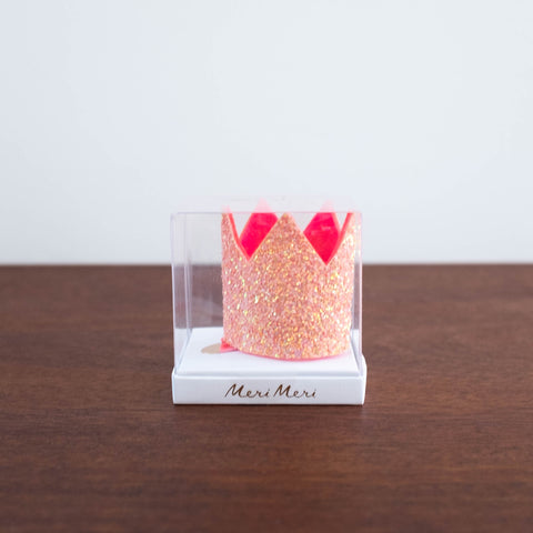 Mini Candle Glittered Crown Hair Clip-Pink