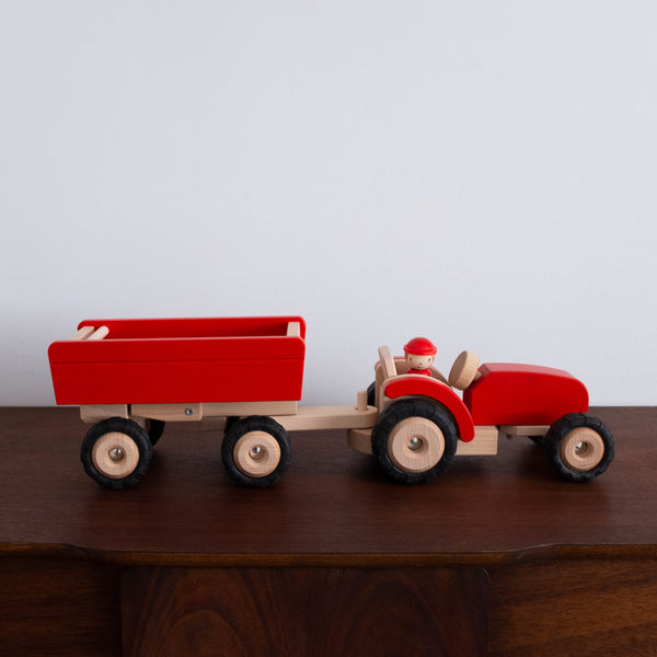 Tractor with Trailer- Red