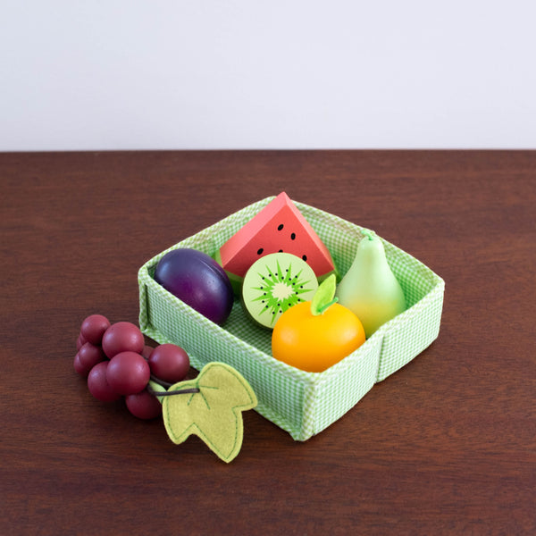Gingham Wooden Fruit Crate