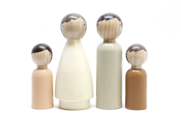 Wooden Peg Dolls: Organic Natural Family Set