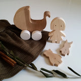 Retro Wooden Doll and Stroller Set