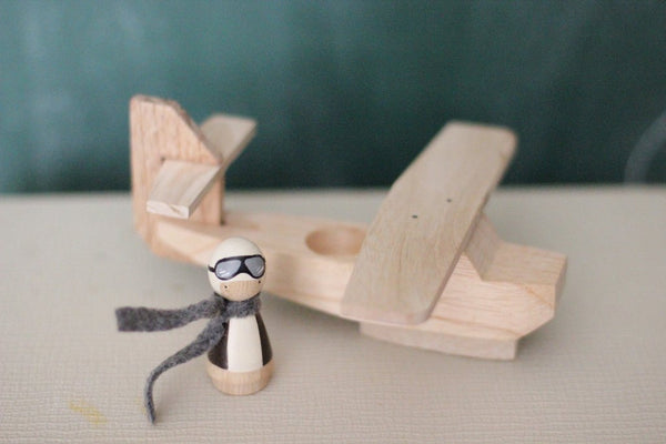 Wooden Peg Dolls: Wooden Airplane and Pilot Set