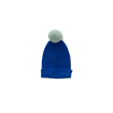 Pom Pom Knit Beanie Hat- Electric Blue and Ocean