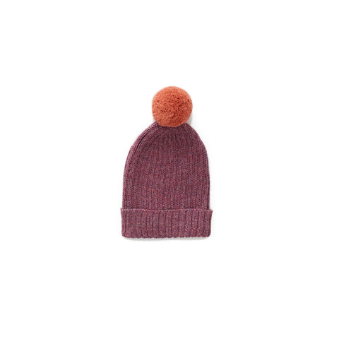 Pom Pom Knit Beanie Hat- Mauve and Apricot