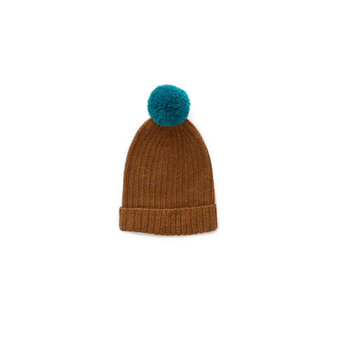 Pom Pom Knit Beanie Hat- Olive and Teal